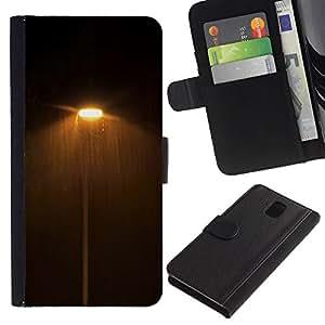 All Phone Most Case / Oferta Especial Cáscara Funda de cuero Monedero Cubierta de proteccion Caso / Wallet Case for Samsung Galaxy Note 3 III // Dark Night Lights Street Yellow Warm
