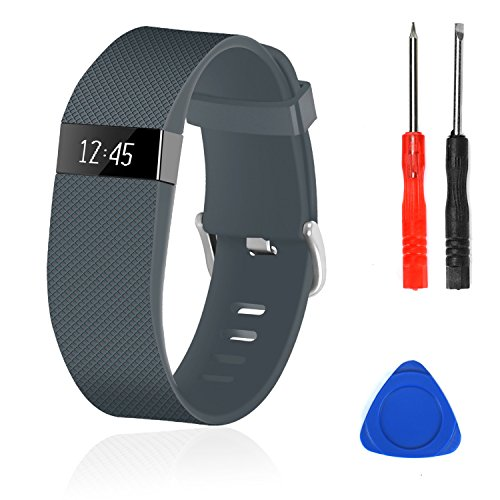Wizvv Compatible Bands Replacement for Fitbit Charge HR,Charge HR 1, with Metal Buckle Fitness Wristband Strap Women Men Large Small (Slate,Large)