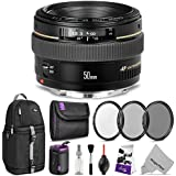 Canon EF 50mm f/1.4 USM Standard Telephoto Lens w/Advanced Photo and Travel Bundle - Includes: Altura Photo Sling Backpack, UV-CPL-ND4, Neoprene Lens Pouch, Camera Cleaning Set