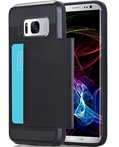 Galaxy S8 Plus Case, Crosspace S8 Plus Wallet Card Holder Defender Rubber Bumper Hard PC Back Hybrid [Dual Layer] Shockproof Cover with Card Slot for Galaxy S8 Plus