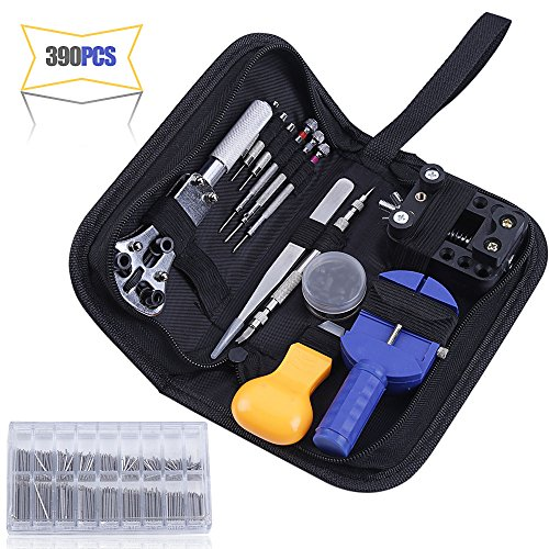 390PCS Watch Repair Tool Kits, Multi Various Watchband Link Pins, Professional Watch Back Cover Opener Link Remover Pry Opener Spring Bar Pin Punches Screwdrivers Set for Watch Repairman by Sorliva