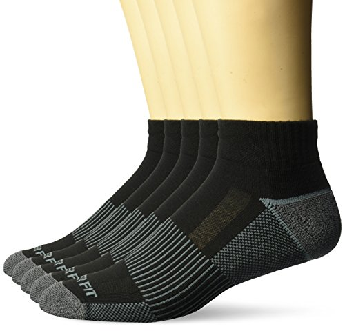 Copper Fit Men's Performance Sport Cushion Quarter Socks (5 pair) Shoe Size 6-12