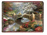 Manual Weavers Thomas Kinkade Faith Bridge Biblical John 7:38 Tapestry Throw Blanket 50'' x 60''