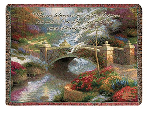 Manual Weavers Thomas Kinkade Faith Bridge Biblical John 7:38 Tapestry Throw Blanket 50