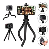 FCNEHLM Tripod S, Premium Phone Tripod, Flexible Selfie Tripod with Wireless Remote Shutter, Compatible with iPhone/Android Samsung, Mini Tripod Stand Holder for Camera GoPro/Mobile Cell Phone
