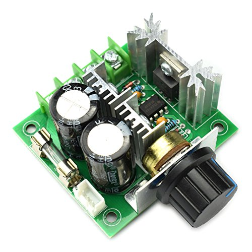 DZS Elec 10A 12V-40V DC Motor Speed Controller 12V 24V PWM Variable Speed Regulator Governor Switch CCMHCN With Speed Control Knob ()