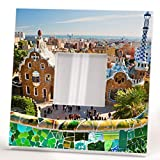 Park Guell Barcelona Wall Framed Mirror with Spain Catalonia Travel Fan Printed Art Home Decor Gift