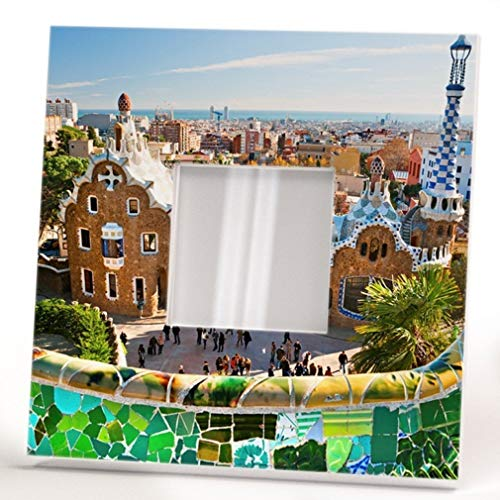 Park Guell Barcelona Wall Framed Mirror with Spain Catalonia Travel Fan Printed Art Home Decor Gift by WonderCloud