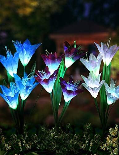 Bright Zeal 3 Bundle 12 Lily LED Fairy Solar Garden Light with Color Changing Flower Lights – Multi Color Solar Lights Outdoor Garden LED Flower Waterproof – Solar LED Metal Flower Stake Lights
