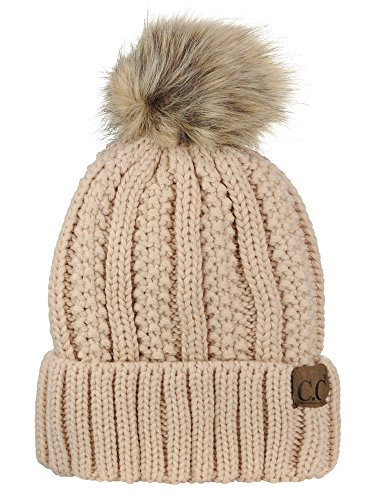 Thick Cable Knit - C.C Thick Cable Knit Faux Fuzzy Fur Pom Fleece Lined Skull Cap Cuff Beanie, New Beige