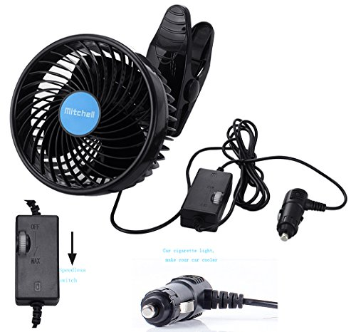 Jhua 12V 6 inch Car Clip Fan Automobile Vehicle Cooling Car Fan Powerful Quiet Speedless Ventilation Electric Car Fans With Clip Cigarette Lighter Plug for Summer by Jhua (Image #3)