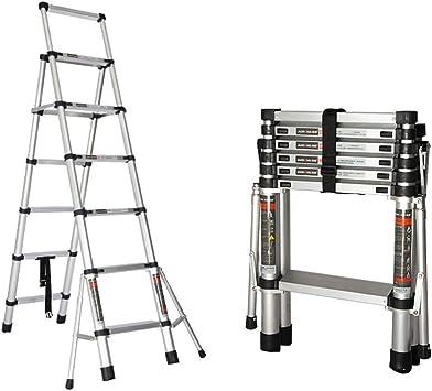 Escalera Doble telescópica, Plegable, Multiusos, de Aluminio, con estabilizador, Capacidad de Carga máxima de 150 kg, Escalera de Cinco Pasos/Seis Pasos: Amazon.es: Bricolaje y herramientas