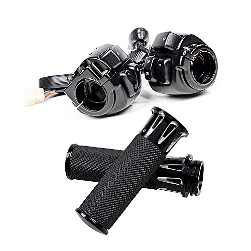 """Left Right CNC 1"""" Handlebar Hand Grips + Switch Control For 1996-2012 Harley Davidson (CNC Black)"""
