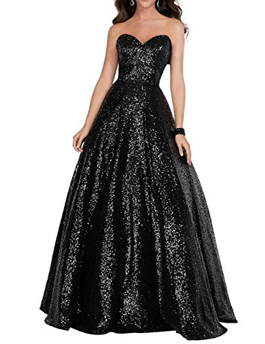 YIRENWANSHA 2018 Strapless Sequined Prom Party Dress for Women A Line Empire Waist Sweetheart Neck Formal Evening Gown Floor Length Elegant Costume SHPD41-S Black Size 8