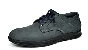 Bruno MARC MODA ITALY RON Men's Classic On The Go Driving Casual Leather Lace Up Comfort Oxfords shoes Navy SIZE 9.5