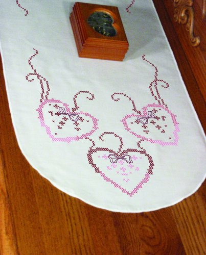 (Fairway 18265 Dresser Scarf, Cross Stitch Three Hearts Design, White, Perle Edge)
