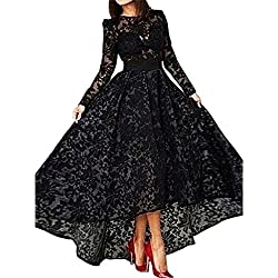 SHARON Women's Black dress Lace prom dress long sleeve evening dresses Black 16