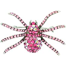 Pink on Silver Plated Sparkly Spider Brooch