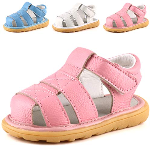 - Femizee Baby Leather Sandals Closed Toe Outdoor Casual Sandals for Toddler Boys Girls,Pink,1231 CN17
