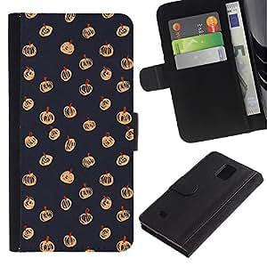 Paccase / Billetera de Cuero Caso del tirón Titular de la tarjeta Carcasa Funda para - Halloween Autumn Fall Grey Pattern - Samsung Galaxy Note 4 SM-N910
