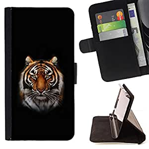 BullDog Case - FOR/HTC DESIRE 816 / - / tiger portrait jungle big cat whiskers ears /- Monedero de cuero de la PU Llevar cubierta de la caja con el ID Credit Card Slots Flip funda de cuer
