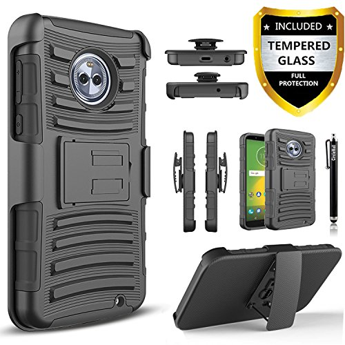 Moto G6 Plus Case, With [Premium Screen Protector Included], [Not Fit Moto G6/G6 Play] Circlemalls Built-in Kickstand Heavy Duty Belt Clip Phone Cover And Stylus Compatible Motorola Moto G6 Plus-Black