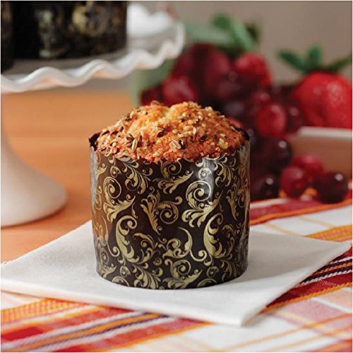 Mini Round Paper Panettone Muffins Mold High Baking Cups 2-3/4 x 2-3/8 Florentine Mols - Brown and Gold Design - 25 pcs