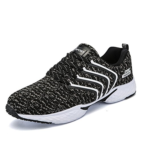 Bigcount Hombres Outdoor Sports Sneakers Breathable Knit Walking Zapatos Ligero Athletic Running Zapatos Negro