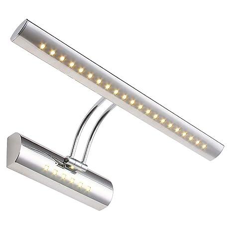 Lightsjoy Aplique Baño Luz de Espejo en Moda de Acero Inoxidable 6W con 27 LED Iluminación Frente al Espejo Adjustable Ángulo Apliques de Pared SMD ...