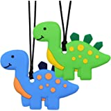 Sensory Chew Necklace for Kids, Boys, and Girls - 2 Pack Dinosaur Silicone Baby Teether Toys for Teething, Autism, Biting, AD