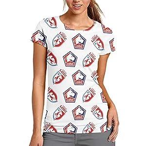 Lille OSC LOSC T-Shirt Femme Tee Shirt Manches Courtes 3D Imprimé Mode 6