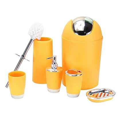 Set de baño, Ouneed 6pc pieza accesorios bin jabón plato dispensador vaso titular cepillo de