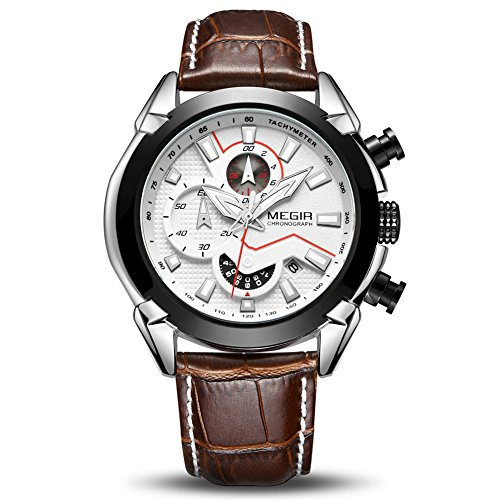 MEGIR Men's Analogue Army Military Chronograph Luminous Quartz Watch with Stylish Leather Strap for Sport & Business Work ML2065GS-BKBN-7