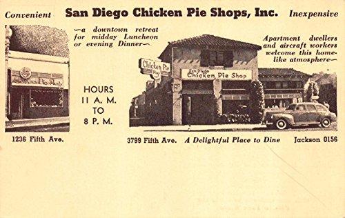 Postcard San Diego Chicken Pie Shop Restaurant Fifth Avenue California~117305 ()