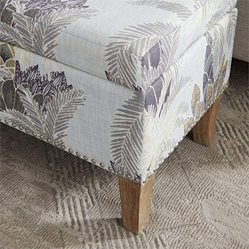 Riverbay Furniture Leaf Print Wood Upholstered Storage Ottoman