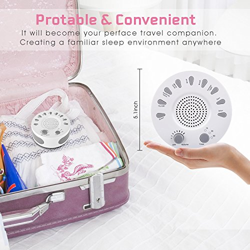 ARTIFUN White Portable Sleep Home, Travel,9 Natural Smoothing Sounds,3 Timer,USB or Powered