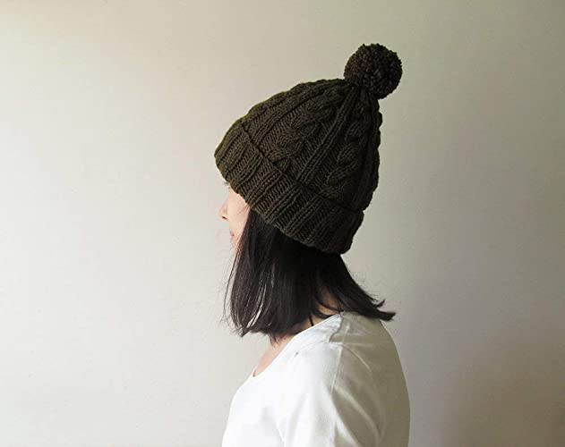 Amazon.com  Cable Knit Hat in Olive Green 3e6aa25bb74