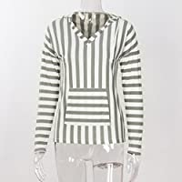 Kangma Women V-Neck Stripe Long Sleeve Jumper Hoodie Sweater Ladies Casual Knitwear Tops Gray