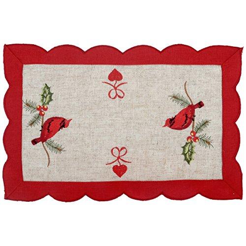 Grelucgo Set of 4 Embroidered Christmas Holiday Decorative Cardinal Table Placemats, Rectangular 11 x 17