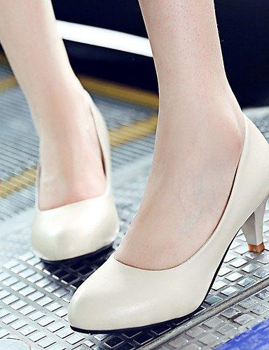 GGX/ Damen-High Heels-Büro / Lässig-PU-Kitten Heel-Absatz-Absätze / Komfort-Schwarz / Rosa / Beige beige-us6 / eu36 / uk4 / cn36