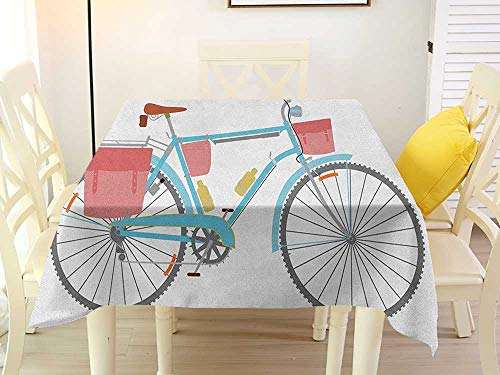 L'sWOW Indoor Square Tablecloth Bicycle Classic Touring Bike with Derailleur and Saddlebags Healthy Active Lifestyle Travel Multicolor Fringe 36 x 36 Inch