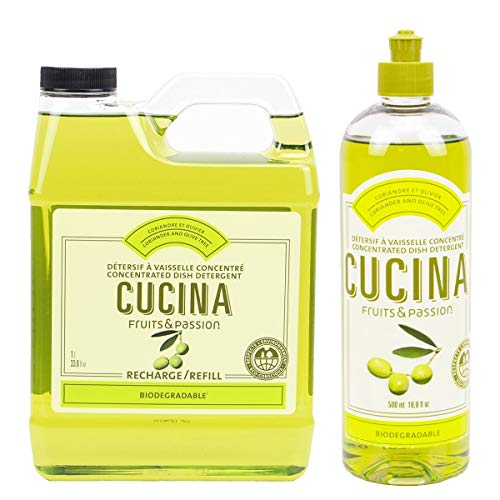 Fruits and Passion Cucina Daily Liquid Dish Detergent Refill Duo Set (Coriander and Olive Tree)