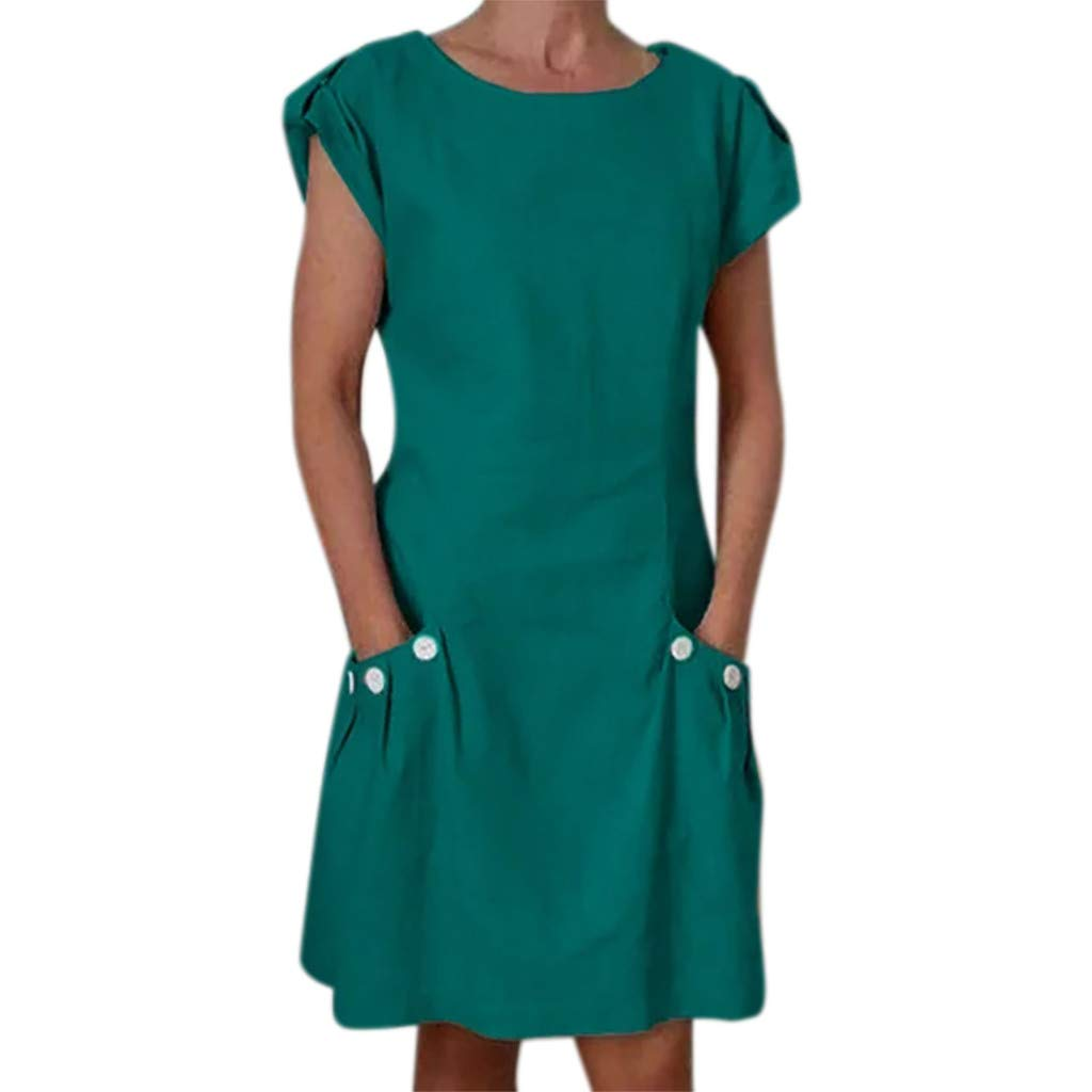 Tantisy ♣↭♣ Women's Tops Summer Short Sleeve O-Neck Midi Dress Swing Pencil Dress Chic Button with Pockets Casual Dress Green