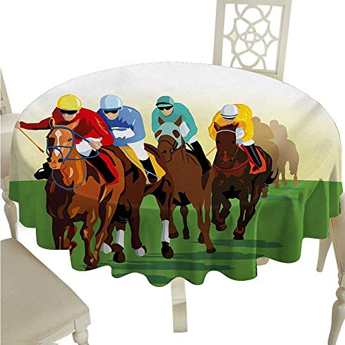 Horse Round Polyester Tablecloth Vibrant Colorful Competitive Scene with Jockeys Racing Horses Equine Retro Artwork Waterproof/Oil-Proof/Spill-Proof Tabletop Protector D70 Multicolor -