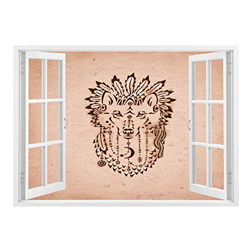 SCOCICI Creative Window View Home Decor/Wall Décor-Wolf,Ethnic Drawing Style Animal in a War Bonnet Hand Drawn Native American Inspirations Decorative,Peach Brown/Wall Sticker Mural