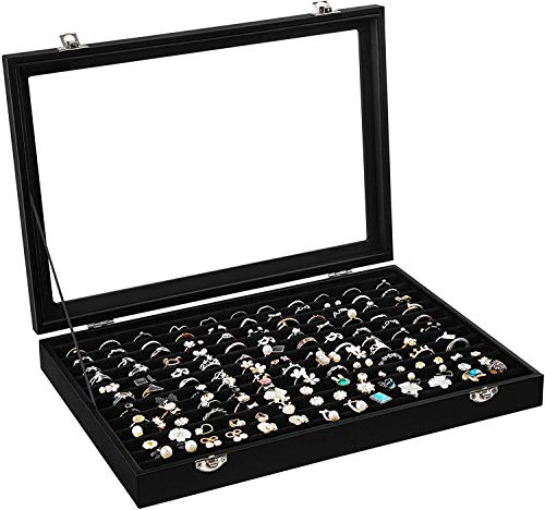 Ring Earrings & Studs Organizer Box with Transparent Lid ~ 10 Rows to Hold 100 Rings & Ear Rings~ Ring Storage Box ~ See Through Top Storage Case Accessories Box (Ring Holder)