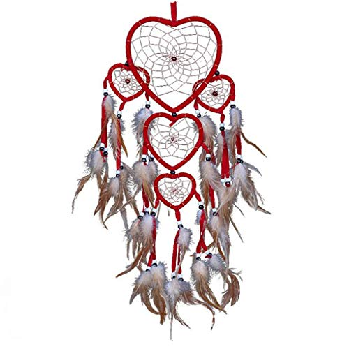 YOYORI Dream Catcher, Handmade Feather Dream Catchers for Bedroom Wall Hanging Heart Five Rings Dream Catcher Home Decor Ornaments Craft (Red)