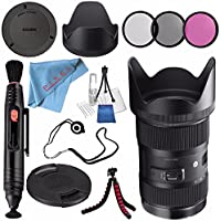 Sigma 18-35mm f/1.8 DC HSM Art Lens for Canon #210101 + 72mm 3 Piece Filter Kit + Lens Pen Cleaner + Fibercloth + Lens Capkeeper + Deluxe Cleaning Kit + Flexible Tripod Bundle