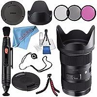 Sigma 18-35mm f/1.8 DC HSM Art Lens for Nikon F #210306 + 72mm 3 Piece Filter Kit + Lens Pen Cleaner + Fibercloth + Lens Capkeeper + Deluxe Cleaning Kit + Flexible Tripod Bundle