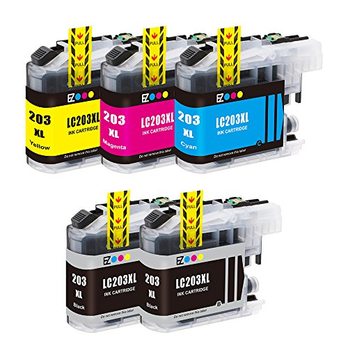 E-Z Ink (TM) Compatible Ink Cartridge Replacement For Brother LC203 XL LC203XL High Yield (2 Black, 1 Cyan, 1 Magenta, 1 Yellow) 5 Pack LC203BK LC203C LC203M LC203Y for MFC-J885DW MFC-J4320DW